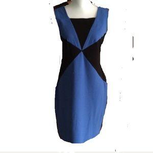 Blue/black geometric design dress